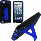 Black / Blue Hybrid Rugged Hard Silicone Case Cover w/ Stand for Apple iPod Touc