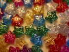 Glitter Stars Pony Beads Size app, 13mm  Mixed Colour