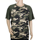 Baseball Raglan T Shirt 3/4 Short Sleeve Men Women Camo Plain Solid Jersey Tee