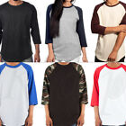 Baseball Raglan T Shirt 3 4 Short Sleeve Men Women Camo Plain Solid Jersey Tee