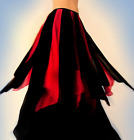 Ameynra Gothic Belly Dance Skirt Black Red chiffon with petals Sizes S M L New