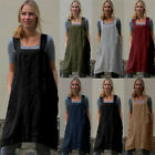 Women Cotton Linen Pinafore Square Cross Apron Garden Loose Pinafore Dresses