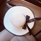 Women Summer Wide Brim Sun Hat Sunscreen Solid Bow-knot Cap Breathable Straw Hat