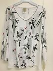 Jess and Jane Bamboo White Floral Asian 3/4 Sleeve Shirt Size New with Tags