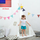 White Teepee Tent Blue Star Canvas Kids Wigwam Childrens Indoor Play House US