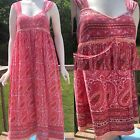 Anokhi Dress Womens Sz S Pink Orange Sleeveless Long Sundress Indian Block Print