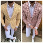 Houndstooth Men's Suit Blazer Causal Leisure Sports Formal  Slim Fit Tailored