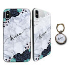 Personalised Tempered Glass Cover Case FOR iPhone Samsung FREE Phone Holder D30