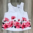JANIE AND JACK SHIRT Girls White with Rose Pink & Navy Sleeveless Blouse 12-18M