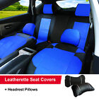 PU Leather Set Front & Rear Car Seat Covers Cushion to Dodge 53255 Bk/BL $64.95 USD on eBay