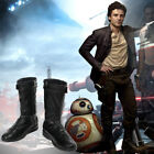 Star Wars The Last Jedi Cosplay Poe Dameron Leather Boots Shoes Custom Made