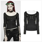Black Gothic Punk Long Sleeve Women T-shirt Hollow-out Stretch-knit Tees Tops