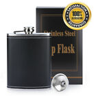 8oz Liquor Whiskey Drink Stainless Steel Pocket Hip Flask Screw Cap with Funnel