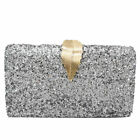 Fashion Leaf Lock Women Glitter Evening Bag Chain Shoulder Handbags Day Clutches