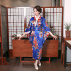 Blue Women Kimono Yukata With Obi Evening Dress Japanese Cosplay Costume Floral