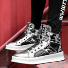 Mens Sneakers Shiny Sport High Top Casual Rivet Street Lace Up Shoes Breathable