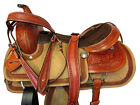 15 16 17 ROPING DEEP SEAT WESTERN RANCH SADDLE FLORAL TOOLED HORSE TRAIL PACKAGE