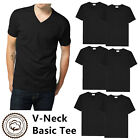 Gemrock Men 100% Cotton V Neck T Shirt Solid Black Short Sleeve Casual Tee S-4XL <br/> Thick Fabric, 7.5 oz Cotton For Comfort Daily Wear.