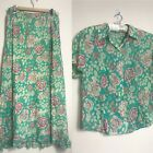 Anokhi For EAST Sz 16 Skirt And Top 100% Cotton Green Pink Floral