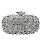 Rock and Roll Skull Evening Bags Crystal Clutch Minaudiere Wedding Party Handbag