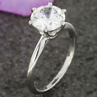1.50 ct Diamond 14k White Gold Finish Six Claw Solitaire Engagement Ring