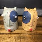 Art Pottery Salt And Pepper Shakers With Kissing Monster Faces 3.5""