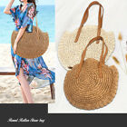 Women Shoulder Bag Handbag Summer Beach Straw Woven Rattan Holiday Purse Round