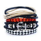UK Mens Women Real Leather Bracelet Wristband Bangle Punk Cool Beaded Wrap Gifts