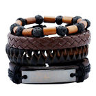 UK Mens Women Real Leather Bracelet Wristband Bangle Punk Beaded Valentines Gift