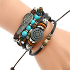 Mens Women Real Leather Bracelet Wristband Bangle Punk Beaded Surfer Wrap Gifts