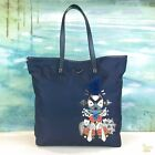 $1480 PRADA Navy Blue Tessuto Nylon Robot Embellished Tote Bag SALE!