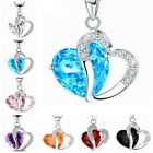 Fashion Women Jewelry Crystal Heart Pendant Necklace Silver Colour Chain