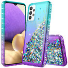 For Samsung Galaxy A10e A20 A30 A50 Bling Rubber Phone Case Cover+Tempered Glass