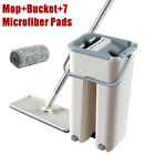 Flat Squeeze Mop Bucket Self Wet Hand Free Wringing Stainless Steel Mop Kit