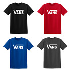 New Adult VANS classic logo t-shirt skateboard Warped tour red black blue tees image