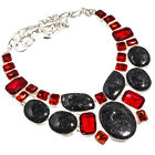 """Nuummite Red Garnet Necklace 925 Sterling Silver Plated Ethnic Jewelry Sz16-18"""""""