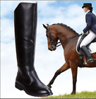 Black US9.5 Mens Leather Knee High Equestrian Boots Riding Boot Military Shoes