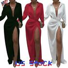 Women's Long Sleeve V-Neck Sexy Side High Slit Maxi Dress Cocktail Ball Gown US $15.38 USD on eBay