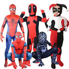 Kids Morphsuit Marvel Superhero Costume Deadpool Spiderman Harley Quinn Jumpsuit