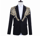 Men's Windowpane Double breasted Formal Wide Lapel Suit Party Prom Blazer Custom