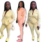Women Sporty Side Stripe Long Sleeves Zipper Coat Long Pants Casual Outfits 2pcs