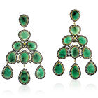 76.17ct Natural Emerald Chandelier Earrings 925 Silver 18k Yellow Gold Jewelry