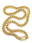 14k Gold Gp Stainless Steel Iced Clasp Lab Diamnond Cuban Link Chain 10mm
