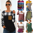 New Women Long Sleeve Shirt Tops Ladies Loose Plaid Striped Tunic Blouse Jumper