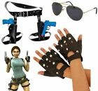 LARA CROFT SET PLAIT WIG GLOVES GUN HOLSTER MOVIE CHARACTER FANCY DRESS COSTUME