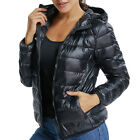 Womens Down Jacket Warm Puffer Coat Duck Goose Hoodie Thin Ultralight Packable