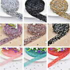 1 Yard Rhinestone Beaded Chain Iron On Applique Trim Wedding Bridal Dress DIY