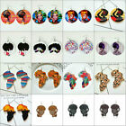 African Woman Afrocentric Wooden Earrings Africa Ethnic Tribal Boho Jewellery