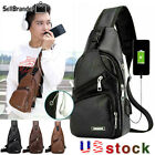Men's Pu Leather Chest Bag Shoulder Pack Usb Charging Sport Crossbody Handbag Us