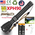 Powerful XHP90 LED Flashlight USB Rechargeable 18650 26650 Zoomable Torch LightFlashlights - 16037